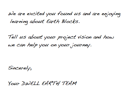 Dwell Earth Contact Us Note
