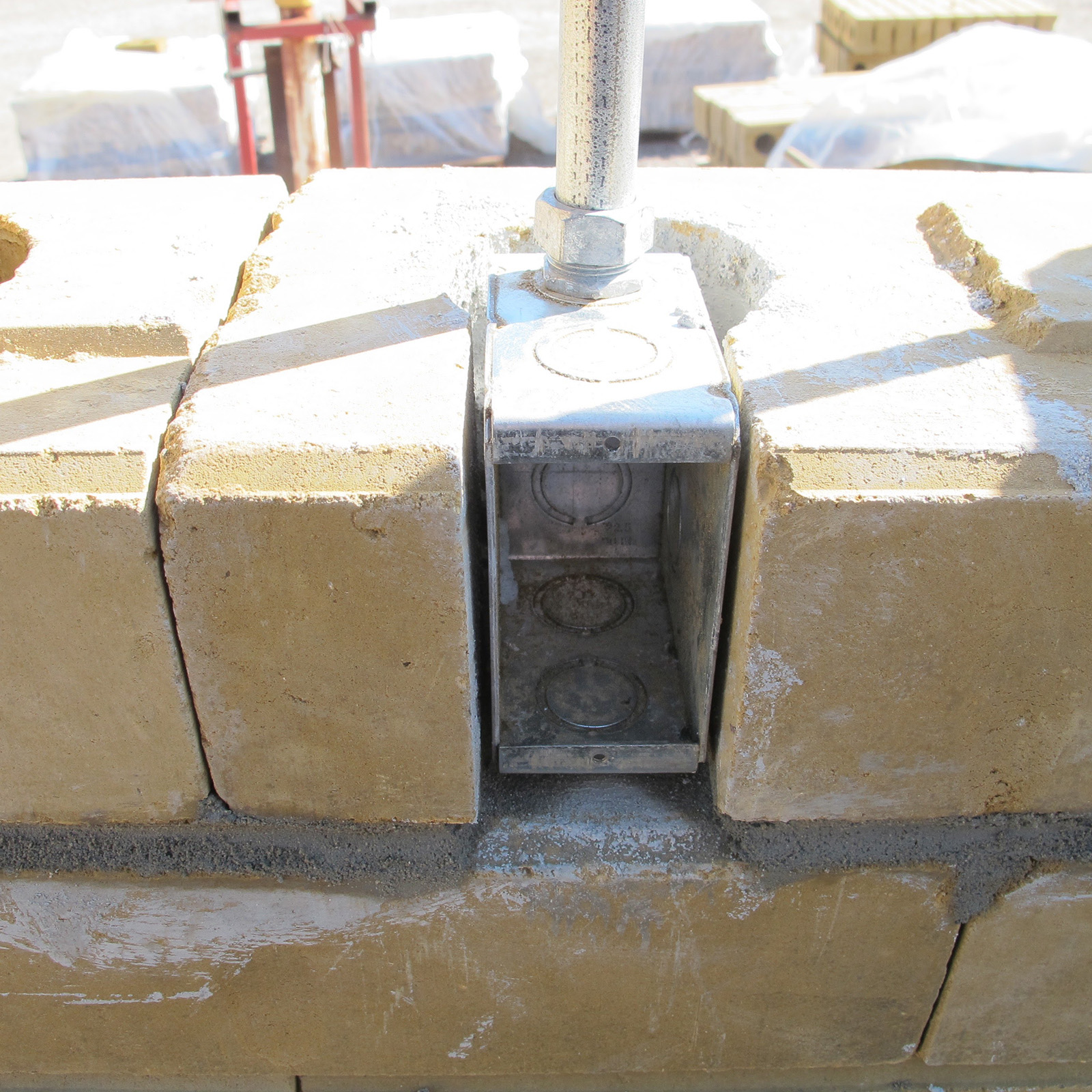 Picture of Earth Block Door Buck Connection - Compressed Earth Block Construction