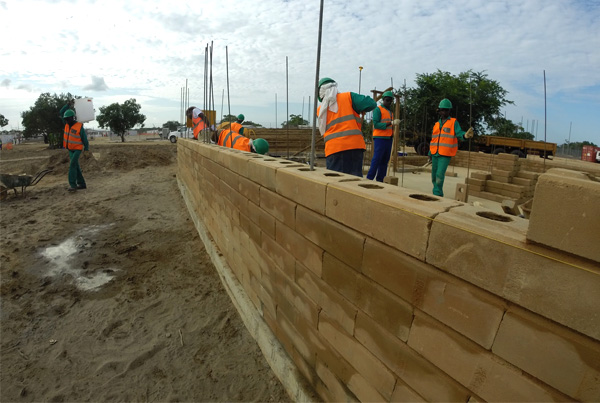 Compressed earth block building construction in Pemba, Mozambique