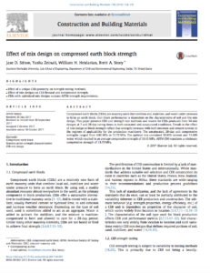 Research Paper for Effect of mix design on compressed earth block strength